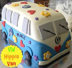 Volkswagen Hippie Cake - This Cakes By Erna Creation is in the fun category! Who doesn& love throwing on random hearts and flowers onto a cake. Bolo Hippie, Hippie Cake, Fancy Cakes, Cute Cakes, Yummy Cakes, Cake Cookies, Cupcake Cakes, Kid Cakes, Beautiful Cakes