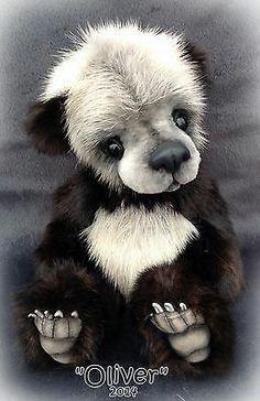 Realistic Panda Bear Cub Real Mink Fur by Teddy Bear Artist Jenea Ivey | eBay