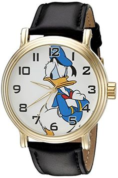 Men's Wrist Watches - Disney Donald Duck Mens W002332 Donald Duck Watch with Black Band ** You can find out more details at the link of the image. (This is an Amazon affiliate link)