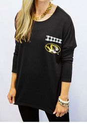 Gameday Couture Mizzou Tigers Womens Oversized Gingham Piko Grey LS Tee
