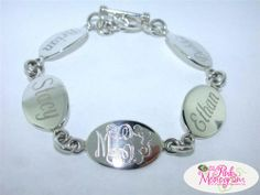 "Monogrammed Multi Disc 7.5"" or 8"" Sterling Silver Mother's Bracelet  Apparel & Accessories > Jewelry > Bracelets"