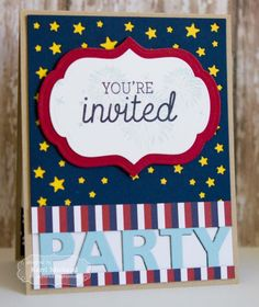 4th of July Party Invite by Kerri Michaud #Cardmaking, #Patriotic, #TEMatched, #FourthofJuly, #CuttingPlates, #Invitations, #Entertaining, #TE, #ShareJoy