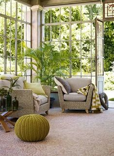 home conservatory. Urban Deco, Conservatory Design, Conservatory Interiors, Conservatory Chairs, Victorian Conservatory, Gazebos, Sunroom Decorating, Country House Interior, Country Homes
