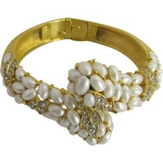 Crown Trifari gold-tone Clamper Bracelet with faux pearls