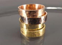 bronze ring set brass ring set  two hammered rings  by CrazyAssJD