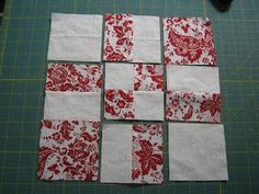 """Love Laugh Quilt: February  Starts with 2 solid 6"""" squares and 2 pattern 6"""" squares. Sewn together as a 4 patch then 4 cuts made, each 2"""" from center seam."""