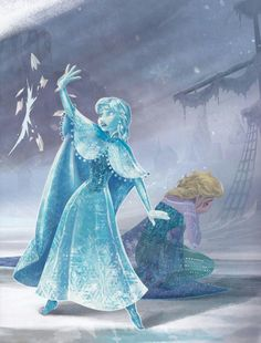 I liked how Anna saved Elsa, depicting true love. I also like the emotional aspect to this as Elsa is seen crying, ashamed of what she's done.more true love. Frozen Art, Frozen Disney, Anna Frozen, Disney Love, Disney Magic, Disney Art, Frozen Book, Disney Stuff, Disney Films