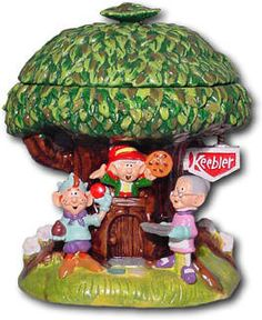 Keebler Tree cookie jar. There are two similar versions, the one with the old lady holding tray is rare. There is one without the characters in front-which is very common