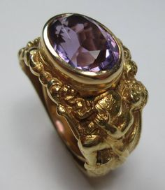 Antique Amethyst Gold Bishop Ring | From a unique collection of vintage signet rings at https://www.1stdibs.com/jewelry/rings/signet-rings/