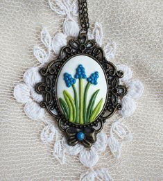 Cameo style Necklace Framed Handmade Spring от MagicStuffStore
