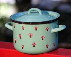 Toadstool Pot - I would love to add kitchenwares like this to my product range, i wonder if it is possible to create things like this now, due to the lack of use of enamel in cookware, it really is a nuisance to clean.