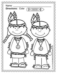 color by numbers indians worksheet (1) | Preschool ...