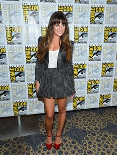 Where Nerds and High Fashion Meet: The Best Dressed Celebs at Comic-Con: Lea Michele in a Stella and Jamie skirt suit and Nicholas Kirkwood heels.