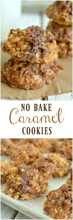 Smooth buttery caramel, crunchy toffee chips, and a chocolate chips come together perfectly in a No Bake Caramel Cookie!