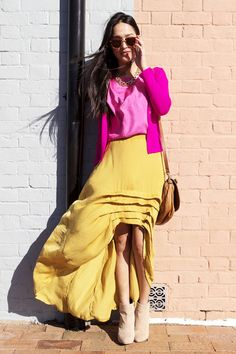 pink top and yellow skirt long summer outfits womens fashion clothes style apparel clothing closet ideas Mellow Yellow, Pink Yellow, Hot Pink, Yellow Roses, Magenta, Purple, Mustard Skirt, Mustard Jeans, 2014 Fashion Trends