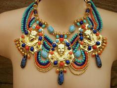 Vintage Miriam Haskell Egyptian Revival Royal Mourning King Tut Bib Necklace   eBay