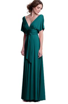 Deep Teal Convertible Dress - Each bridesmaid can wear it in a different way, no alterations needed