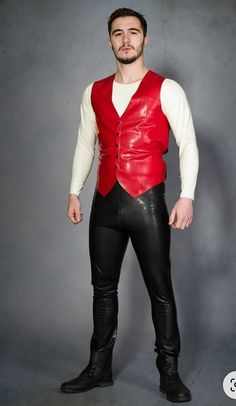 Latex Pants, Latex Suit, Tight Leather Pants, Leather Trousers, Men's Waistcoat, Latex Men, Sexy Latex, Mode Latex, Leather Fashion