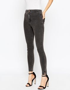 Image 1 of ASOS Rivington Ankle Grazer Jeggings In Washed Black With Raw Hem