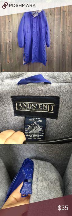 Blue long Land's End fleece lined parka Men's extra long blue fleece lined parka Lands' End Jackets & Coats