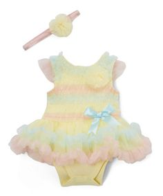 $14.99 marked down from $34! Peach & Blue Skirted Bodysuit & Headband - Infant #baby #infant #rainbow #pastel #zulilyfinds