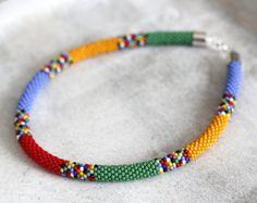 Colorful African Necklace, Rainbow Necklace, Multicolor Beadwork Necklace, Bead Crochet Necklace, Maasai Style Necklace MADE TO ORDER African Necklace, African Jewelry, Tribal Necklace, Crochet Necklace, Beaded Necklace, Bead Crochet Patterns, Bead Crochet Rope, Fabric Jewelry, Beaded Jewelry