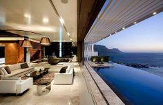terrasse avec piscine à débordement vue sur mer sea pool view