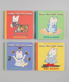 Before Max and Ruby were preschoolers in their very own show on Nick Jr. and Noggin, they were Baby Max and Ruby. The popular bunny siblings are back in four more board books—as their baby selves. With eye-catching novelty elements, these irresistible board books will thrill the very youngest readers. This set shows Max and Ruby getting into all sorts of adventures, from learning about colors in Red Boots and discovering there's a place for everything in...