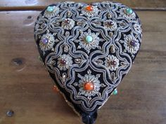 Vintage Victorian Style Embroidered Beaded Heart Jewelry Box by foofarawVINTAGE on Etsy