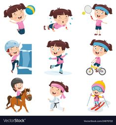 Irl doing various activities Royalty Free Vector Image Class Activities, Infant Activities, Free Vector Images, Art For Kids, Hello Kitty, Royalty, Clip Art, Kawaii, How To Plan