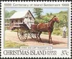 Stamp: Horse and Cart, 1910 (Christmas Island) (Transportation) Mi:CX 262,Sn:CX 218