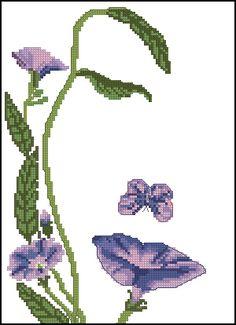 point de croix visage femme en fleurs mauve - cross stitch lady face with purple flowers