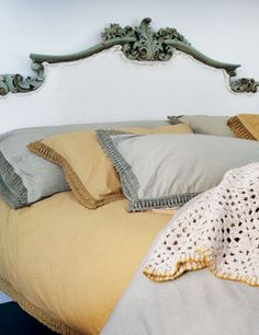 Washed cotton mustard and grey linens