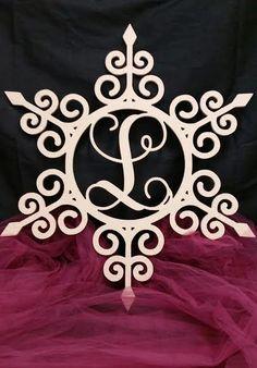 Wooden Monogram Swirly Snowflake Wall Hanger