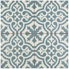 SomerTile 17.625x17.625-inch Tudor Blue Ceramic Floor and Wall Tile (Case of 5) - 18916052 - Overstock.com Shopping - Big Discounts on Somertile Floor Tiles