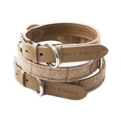Mutts and Hounds Oatmeal Check Dog Collar