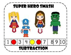 This is a great game for math centers!Works great if you are doing a super hero theme in your classroom.This file includes:*4 Super Hero Game...