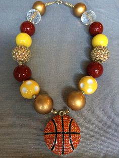 Cleveland cavaliers inspired wine and gold necklace Cavs basketball   www.etsy.com/shop/buckeyebeadbowtique
