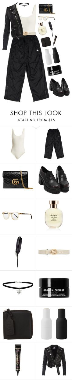 """Change that look"" by mode-222 ❤ liked on Polyvore featuring Solid & Striped, Gucci, Oliver Peoples, Arquiste Parfumeur, Maison Margiela, Miss Selfridge, Grown Alchemist, Acne Studios, Menu and Too Faced Cosmetics"
