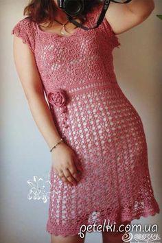 Красивое летнее платье крючком. Схемы, МК