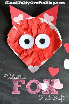 Paper Plate Valentine Fox - Kids Craft Idea For Valentine's Day Preschool Valentine Crafts, Cute Kids Crafts, Paper Plate Crafts For Kids, Valentine's Day Crafts For Kids, Daycare Crafts, Classroom Crafts, Toddler Crafts, Craft Kids, Valentine Theme