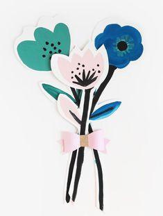DIY Flower Cards for Mother's Day (Handmade Charlotte) Easy Paper Flowers, Paper Flower Tutorial, Diy Flowers, Painted Flowers, Homemade Mothers Day Gifts, Mothers Day Crafts For Kids, Café Brunch, Papier Diy, Making A Bouquet
