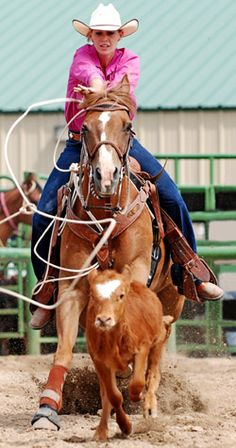 Roping: when you not only are abusing a horse, but add a baby cow to the mix.