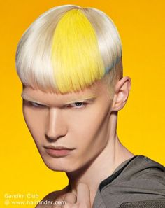 Blonde men's hair with yellow and blue color accents
