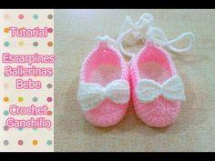 DIY Como tejer escarpines, ballerinas, zapatitos para bebe a crochet, ganchillo - YouTube