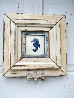 Seahorse Tile Framed Reclaimed Wood Distressed Talavera Tile