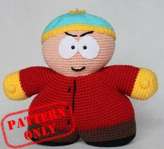 PATTERN ONLY! Eric Cartman South Park crochet pattern