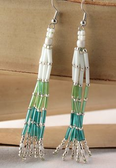 Seed Bead Woven EarringsNative American by NativeStyles on Etsy