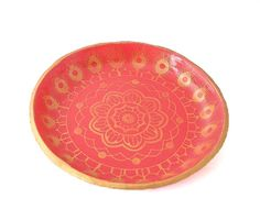 Red & Gold Mandala Ring Dish | Jewellery Holder | Jewellery Storage Solutions at Lottie Of London Jewellery