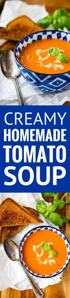 Homemade Tomato Soup -- this creamy tomato soup recipe is a total copycat of my favorite soup at First Watch! Perfect paired with a hot and fresh classic grilled cheese sandwich… | tomato soup easy | healthy tomato soup | tomato basil soup | find the recipe on unsophisticook.com #tomatosoup #soup #souprecipes #easyrecipes
